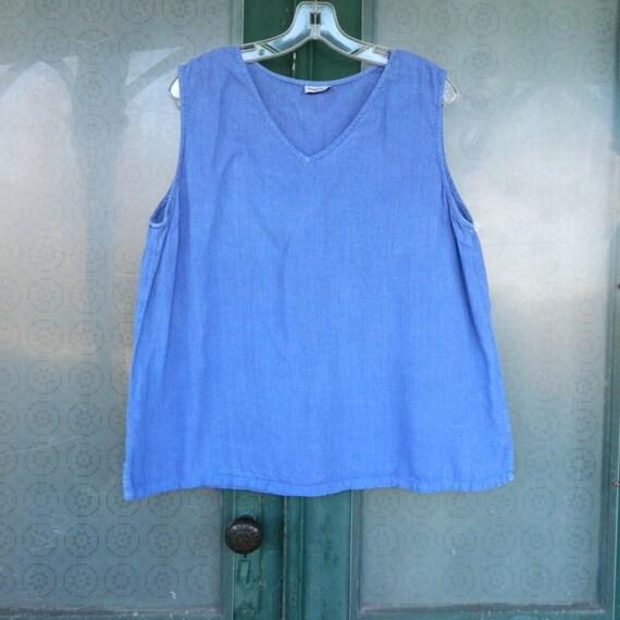 Match Point Sleeveless V-Neck Bias Tank -L- Cornflower Blue Linen