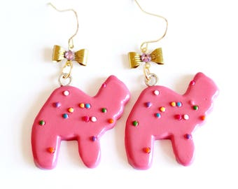 Circus Animal Cookies Earrings Frosted Animal Cookie Earring Kitsch Jewelry Rockabilly Pin Up Earrings
