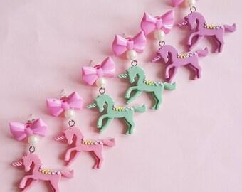 Unicorn Earrings, Pastel Bow and Unicorn Earrings, Rainbow Unicorn Jewelry, Kawaii Jewelry, Pastel Goth Jewelry, Pin Up Jewelry
