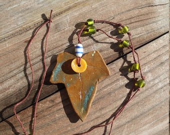 Ivy Leaf Necklace with Green Glass Beads