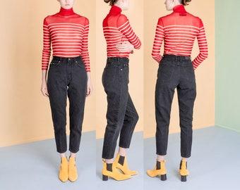 BLACK JEANS high waist 90S LEE denim women Skinny denim vintage UsA / Size 5 / waist 26 inches / better Stay together