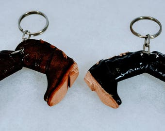 Pair of Boots Keychains - Lot of 2 - One Pair Brown and One Pair Black - Hand Crafted
