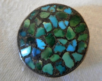 VINTAGE Inlay Turquoise in Silver BUTTON