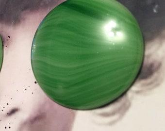Vintage West German 35mm Jade Green Glass Cabochons  8279GRN x2