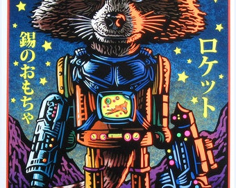 Rocket Tin Toy- Hand Inked Black Light Print- Rocket Raccoon Tin Toy