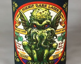 Cthulhu Dark Lager Can Cooler-  Foam Can Cooler for Cans and Bottles