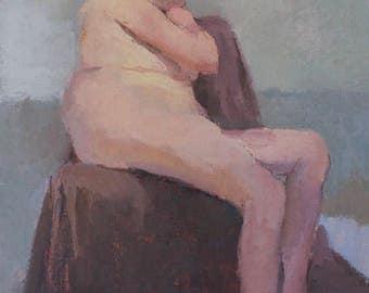 original oil painting , reclining nude, figure painting, original artwork by Michelle Farro