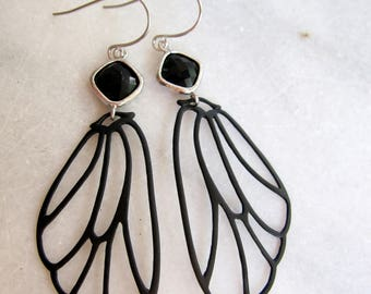 Black Butterfly Earrings, Black Wing Earrings, Long, bohemian, Goth, Black Insect, Black Diamond Shape Connector, Silver, Gardendiva