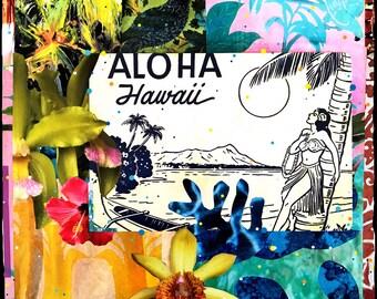 NEW, Aloha Hawaii Floral Wave, 8x10, 11x14, 16x20, Hawaii, Hand-Signed matted print, Hawaiian art, Oahu, Aloha, Diamond Head,, Ocean, Hawaii