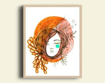 Floresta orange and pink Art print