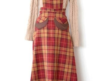 Wool Jumper, Wool Pinafore Dress, Wool plaid jumper, plaid wool jumper, Vintage Print jumper, vintage jumper, vintage apron, apron dress,