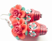 Sugar Skull Earrings Large Red Day of the Dead Dia De Los Muertos Skull Rose Earrings
