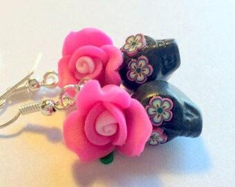 Sugar Skull Earrings Dia De Los Muertos Pink and Black Rose Skull Earrings