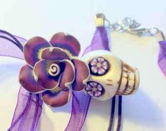 Skull Necklace Purple Yellow White Rose Flowery Eyes Day of the Dead Necklace