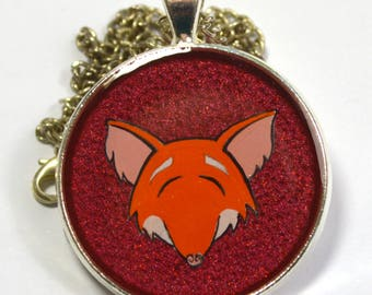 Hand Painted Red Smiling Fox Pendant