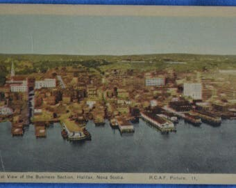Halifax Nova Scotia Canada Aerial View Business Section Linen Postcard