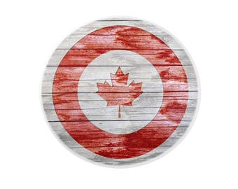 Round Canada Flag Porcelain Drawer Pull Rustic Red Maple Leaf on Grey Bleached Wood Board Graphic