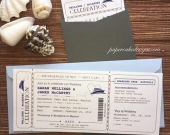 Boarding Pass Ticket Cruise Ship Invitation / DIY Printable PDF Template / Wedding Birthday Party