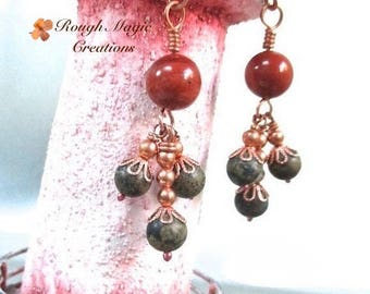 Red & Green Stone Earrings, Copper, Jasper Gemstones, Long Dangling Clusters, Dark Earthy Colors, Bohemian Style, Boho Gift for Women E391