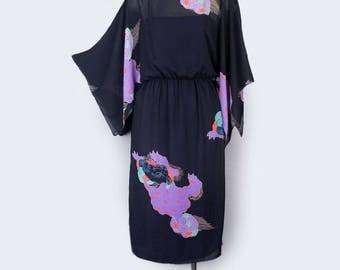 70's Vintage Kimono Style Dress - Black Sheer, Bohemian style, hippie dress, Asian, Japanese Print - MEDIUM