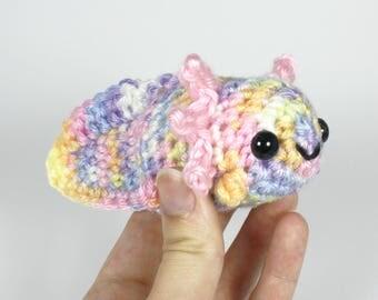 Crocheted Axolotl Amigurumi Plushie - Pastel Rainbow Axolotl Plush - Ready to Ship