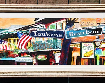 """French Quarter Toulouse and Bourbon Street Framed Art 22x12"""" Matted Print Signed and Numbered"""