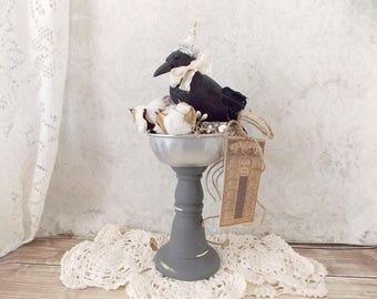 Shabby Rustic Chic Primitive Crow Fall Halloween Home Decor Statue