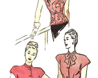 1940s Blouse Pattern Advance Vintage Sewing Cap Sleeve Unprinted Tie Collar Top Vintage Sewing Women's Misses Size 12 Bust 30 Inches