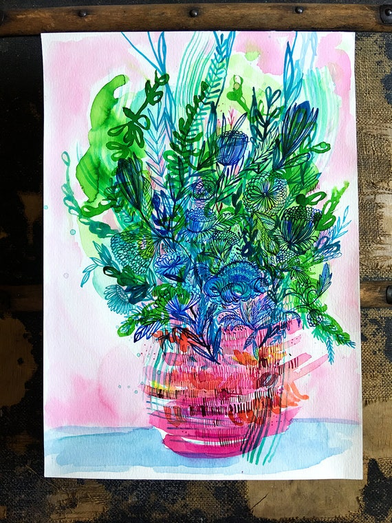 Original watercolor and ink painting on paper Potted Garden artwork by Paula Mills