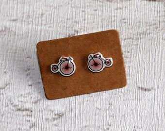 Penny Farthing Earrings, Teeny Tiny Earrings, Bicycle Jewelry, Cute Earrings