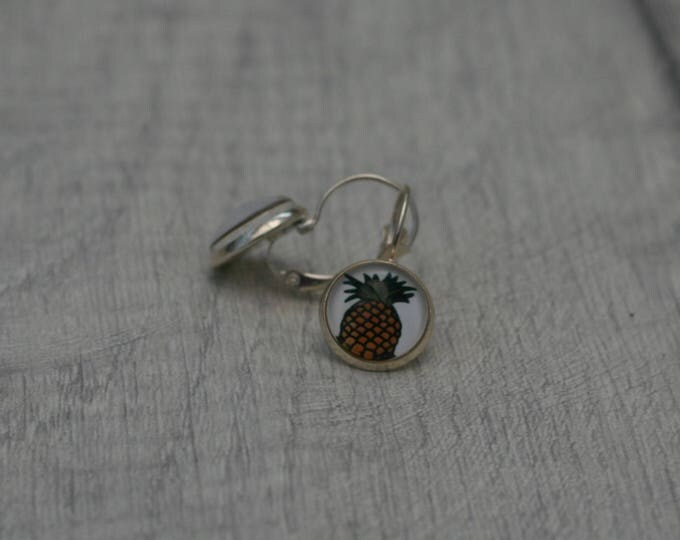 Pineapple Earrings, Fruit Illustration, Dangle Earrings