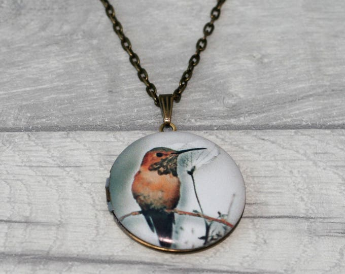 Bird Locket Necklace, Bird Necklace, Bird Pendant, Pink Blossom Necklace
