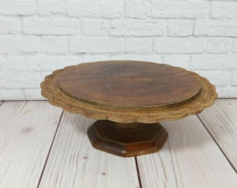 Vintage Round Scalloped Carved Wood Cake Stand