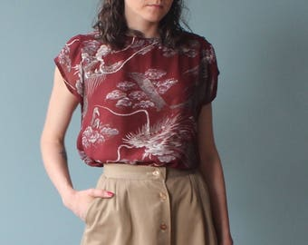 sheer cap sleeve scenic blouse | burgundy graphic top | 1980s small - large