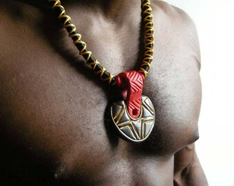 Tribal Wrapped Rope Necklace - Black, Yellow, Red, Gold