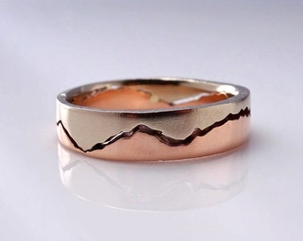Mixed Gold Mountain Ring, 8mm band, Handmade with recycled Rose Gold & Palladium White Gold, Wedding Band, Mountain wedding, Mountain Love