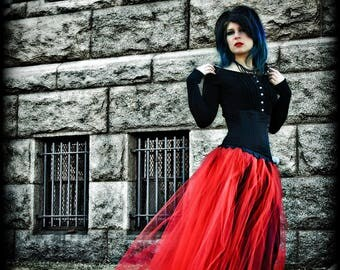 Bride Bridal Bridemaid red wedding  romantic Gothic Red Prom Formal Length Tulle Skirt all sizes MTCoffinz