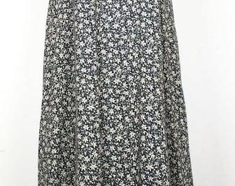 Vintage Black  Tan Floral Slip Midi Dress  XS S