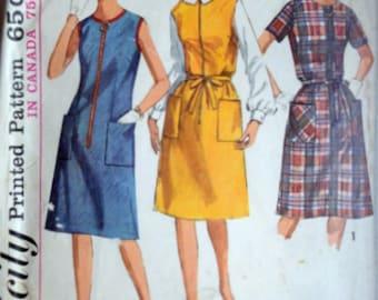Sewing Pattern, Vintage 60's Simplicity 6095, Misses' Dress Or Jumper, Size 14 1/2, 35 Bust, Mad Men Retro 1960's