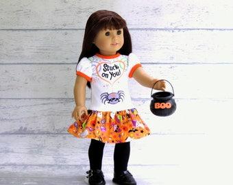 Halloween Spider Tee Shirt Dress fits 18 inch Dolls