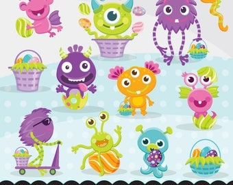 Cute Easter  Monsters clipart, cute spring graphics, illustration, planner stickers, scrapbooking, character, embroidery, cutting files, art