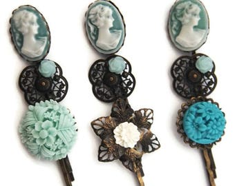 Teal Lady Hair Pin Set of 3-Fashion Accessory-Regency Hair Slides-Classic Bobby Pins-Victorian Style-Gifts for Her-Stocking Stuffer-Bridal