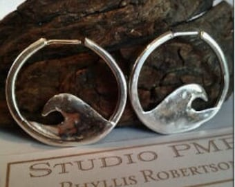 Earrings- Handmade Sterling Silver Wave Circle Hoops, Hoop Earrings, Silver Hoops, Small Wave Hoops, Beach Hoops