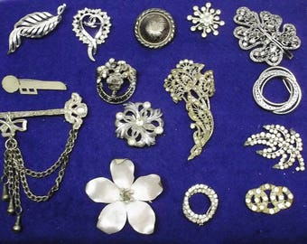 Large Vintage Lot of Silver Tone Brooches Edwardian to 60s Rhinestones Deco MCM Novelty 15 Pieces