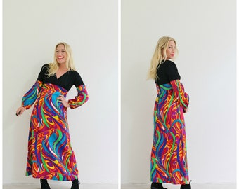 1960s Psychedelic Print Dress /// Size Extra Small to Small