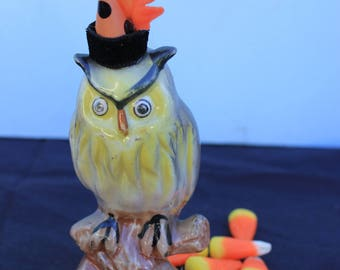 Vintage Style Halloween - Ceramic Owl Figure with Witch Hat. On a Branch, Orange Leaf