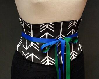 Black and White Arrows Waist Cincher Corset Belt Dot Any Size