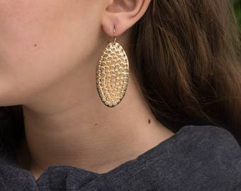 Gold perforated earrings, 22k and sterling silver bimetal, solid 18k hooks, oval 50mm tall.