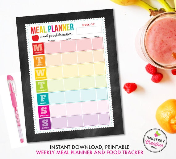 printable meal planner and food tracker instant download pdf