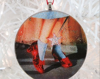 Ruby Slippers glass and glitter ornament